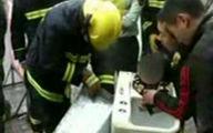 نجات کودک از داخل ماشین لباسشویی + فیلم