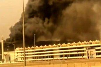 آتشسوزی مهیب در ایستگاه قطار شهر جده عربستان